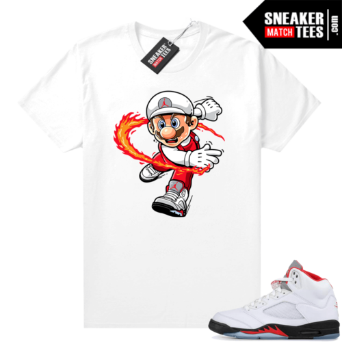 Fire Red 5s Jordan Graphic Tees Mario Fire Red
