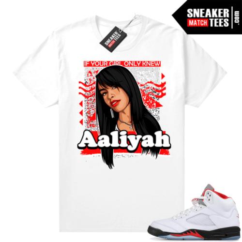 Fire Red 5s Jordan Sneaker Tees Aaliyah