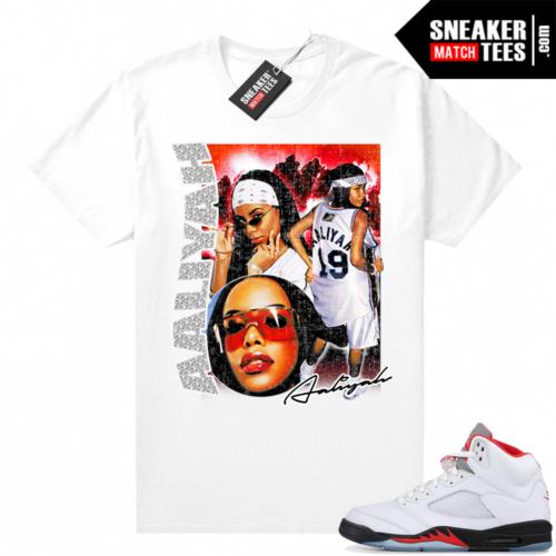 Fire Red 5s Jordan Sneaker Tees Aaliyah Vintage Rap tee