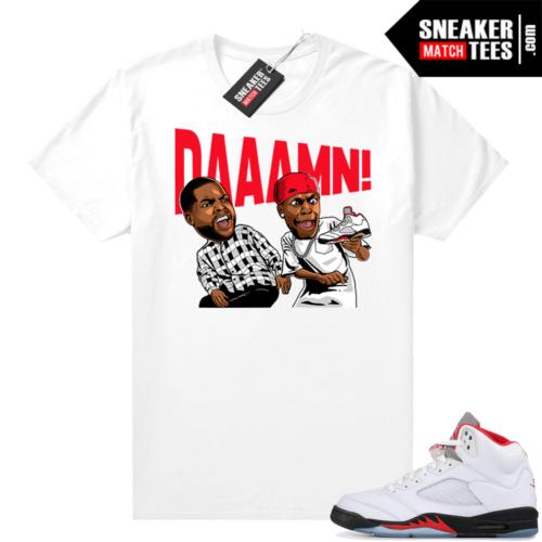 Fire Red 5s Jordan Sneaker Tees DAAAMN