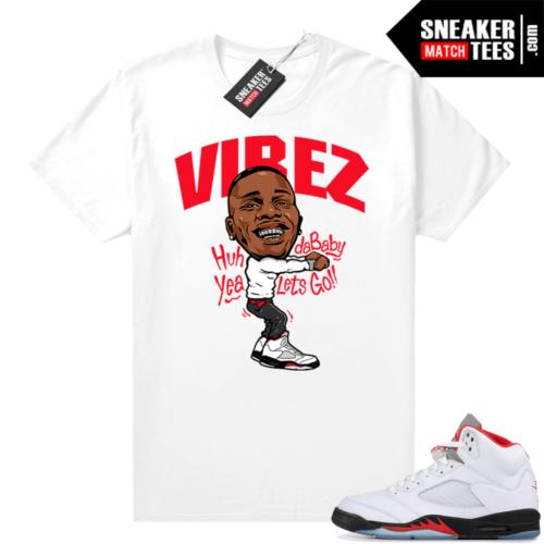 Fire Red 5s Jordan Sneaker Tees Dababy Vibez