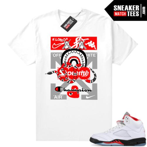 Fire Red 5s Jordan Sneaker Tees Designer Mashup