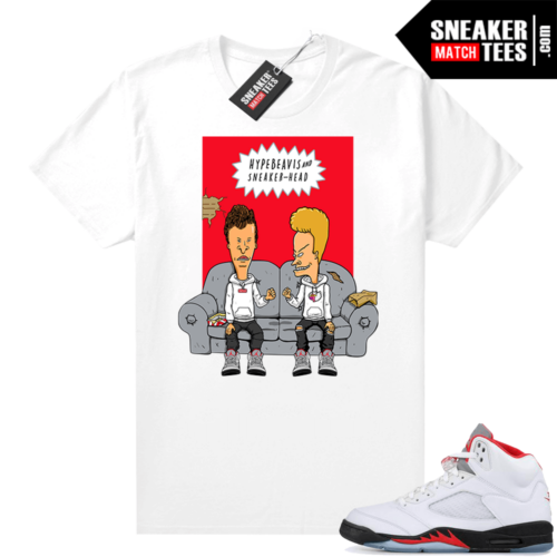 Fire Red 5s Jordan Sneaker Tees Hype Beavis and Sneakerhead