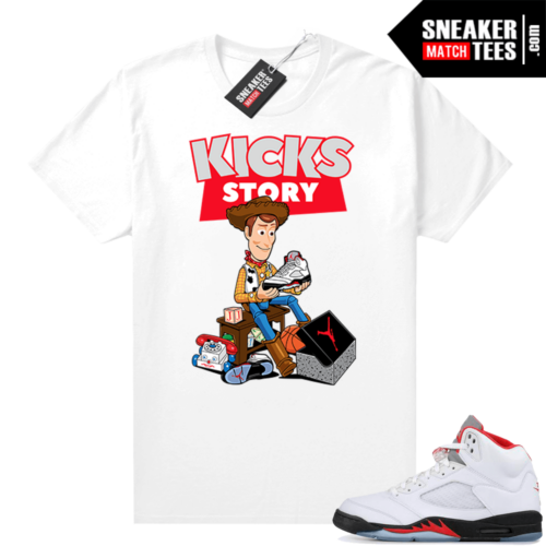 Fire Red 5s Jordan Sneaker Tees Kicks Story