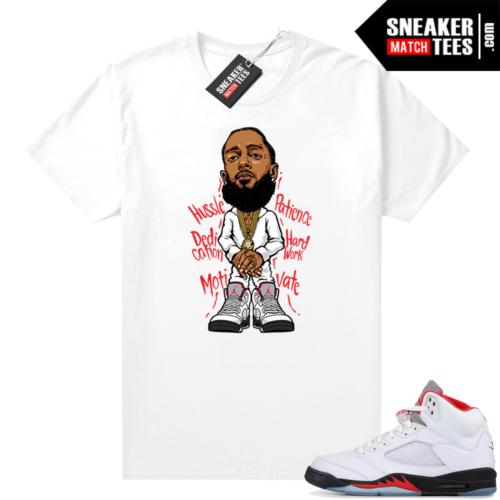 Fire Red 5s Jordan Sneaker Tees Nipsey Hussle Toon