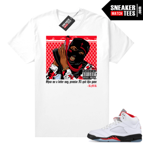 Fire Red 5s Jordan Sneaker Tees RMR Trap Life