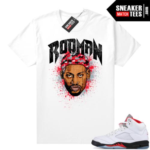 Fire Red 5s Jordan Sneaker Tees Rodman