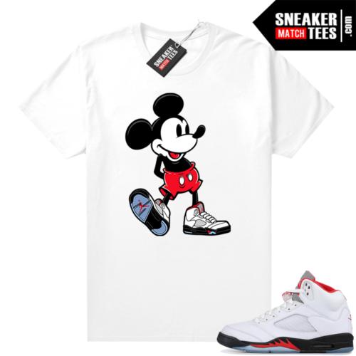 Fire Red 5s Jordan Sneaker Tees Sneakerhead Mickey