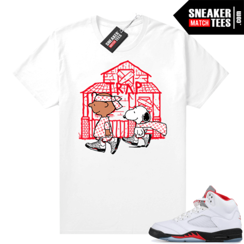Fire Red 5s Jordan Sneaker Tees Snoopy Trap House