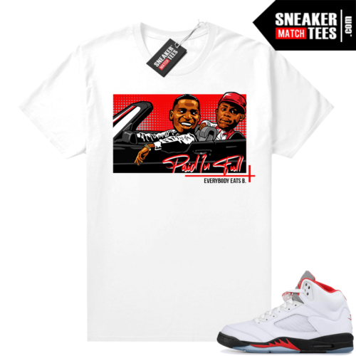 Fire Red 5s Jordan Sneaker shirts Money Mitch and Ace