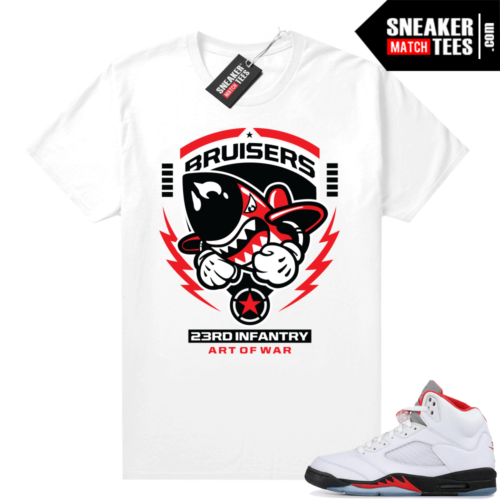 Fire Red 5s graphic tees Bruisers 23rd Infantry