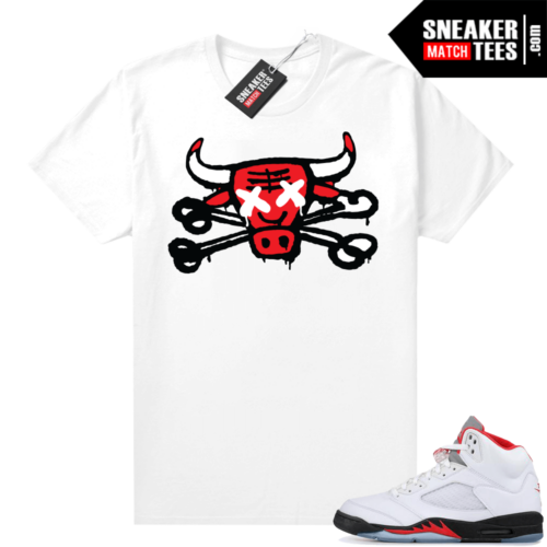 Fire Red 5s graphic tees Bully Bones
