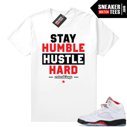 Fire Red 5s graphic tees Stay Humble