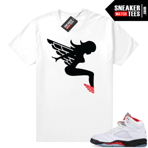 Fire Red 5s matching sneaker shirt Wings