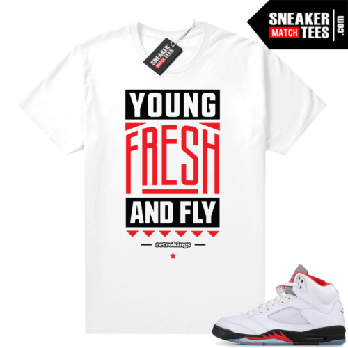 Fire Red 5s sneaker tees Young Fresh Fly