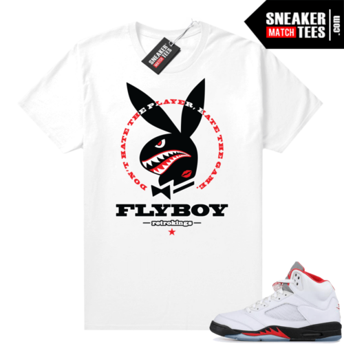 Fire Red 5s sneaker tees shirt Fly Boy