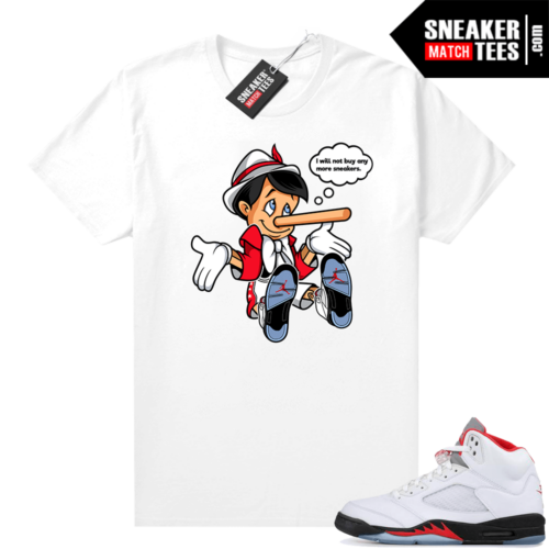 Fire Red Jordan 5 Graphic Tees No More Sneakers