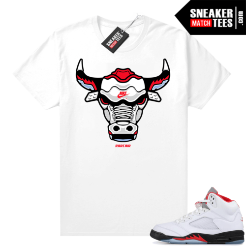 Fire Red Jordan 5 Graphic Tees Rare Air Bull