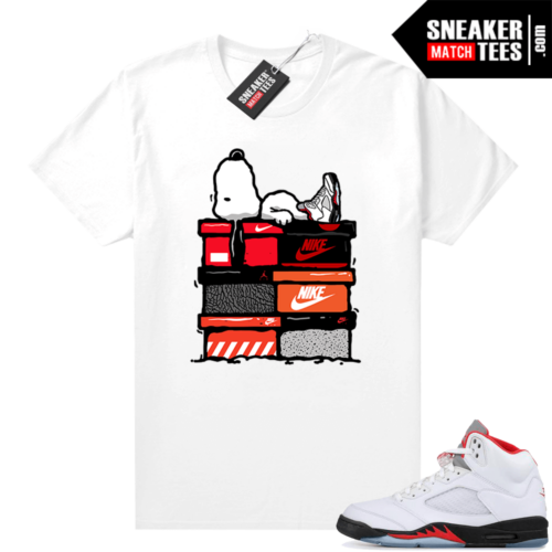 Fire Red 5s Jordan Sneaker Tees Sneakerhead Snoopy