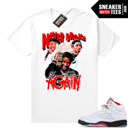 Fire Red 5s Jordan Sneaker Tees Young Boy NBA Vintage Style Rap Tee