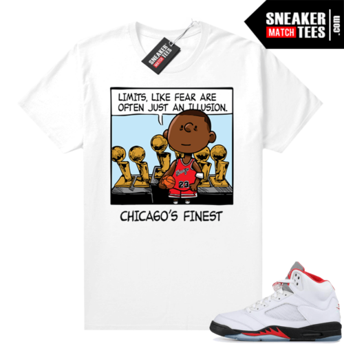 Fire Red 5s shirt PNUTS MJ