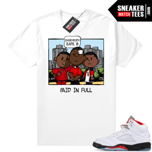 Fire Red 5s shirt PNUTS Paid In Full