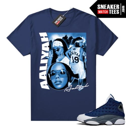 Flint 13s Jordan sneaker tees Navy Aaliyah Vintage Rap Tee