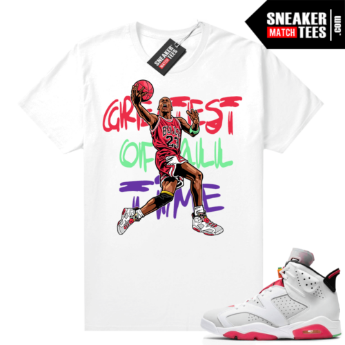 Hare 6s Jordan Sneaker tees White MJ Greatest of All Time V2