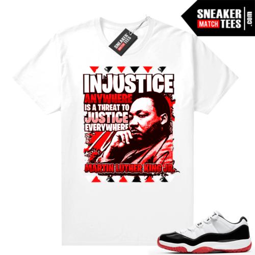 Jordan 11 Low Concord Bred Sneaker tees White MLK Justice