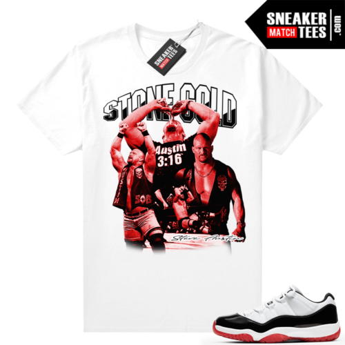 Jordan 11 Low Concord Bred Sneaker tees White Stone Cold Vintage Wrestling