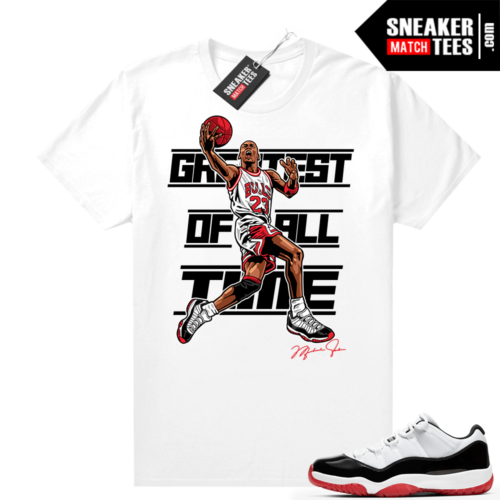 Jordan 11 Low Concord Bred shirt White MJ Greatest of All Time