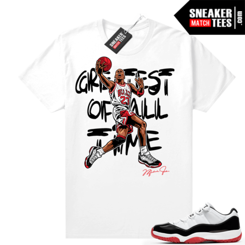 Jordan 11 Low Concord Bred shirt White MJ Greatest of All Time V2
