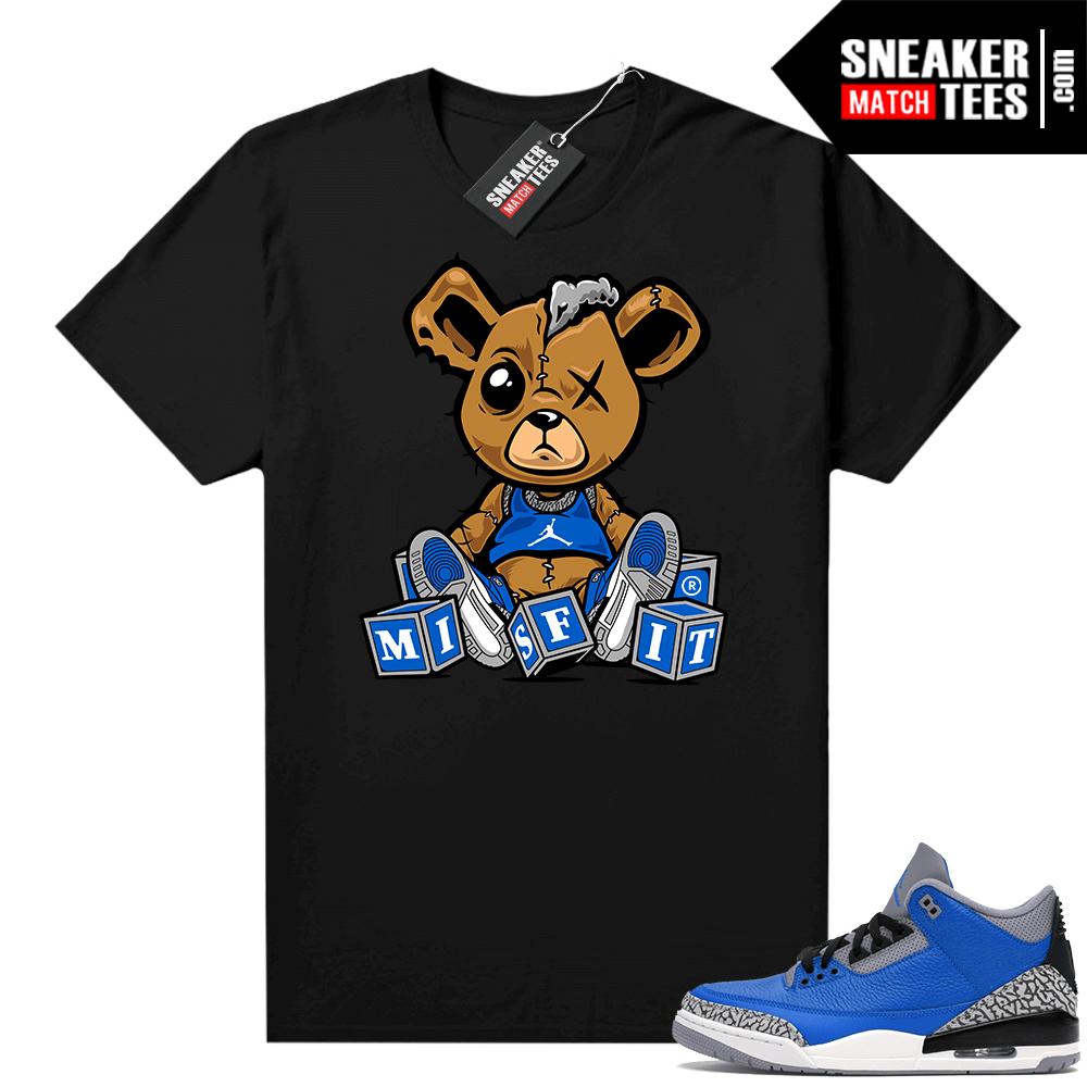 Jordan 3 Blue Cement Shirts Black Misfit Teddy