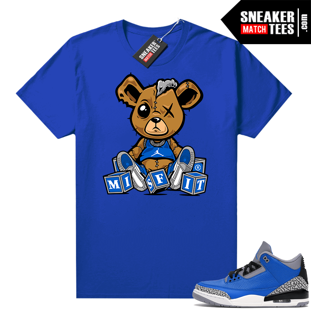 Jordan 3 Blue Cement Shirts Royal Misfit Teddy