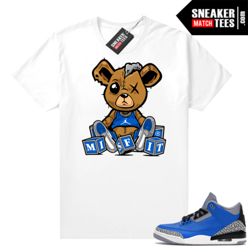 Jordan 3 Blue Cement Shirts White Misfit Teddy