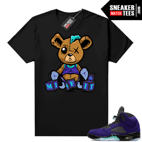 Jordan 5 Alternate Grape Shirts Black Misfit Teddy