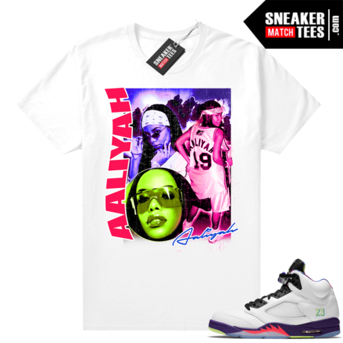 Bel Air 5s Alternate shirts White Aaliyah Vintage Rap