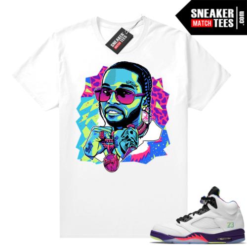 Bel Air 5s Alternate shirts White Pop Smoke Pop Art