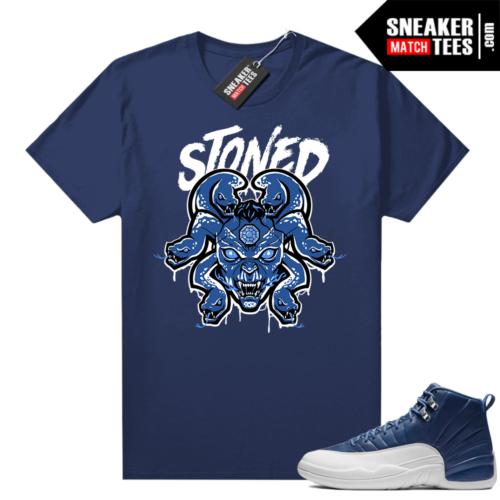 Indigo 12s sneaker tees Navy Medusa