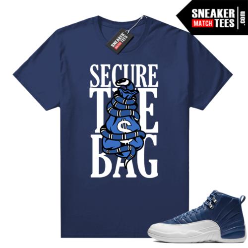 Indigo 12s sneaker tees Navy Secure the Bag