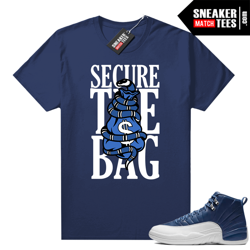 Indigo 12s sneaker tees Navy Secure the Bag
