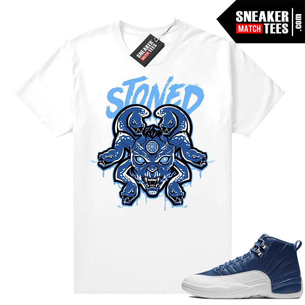 Indigo 12s sneaker tees White Medusa