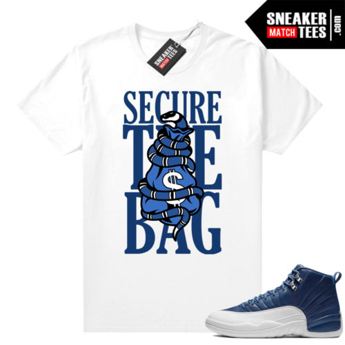 Indigo 12s sneaker tees White Secure the Bag
