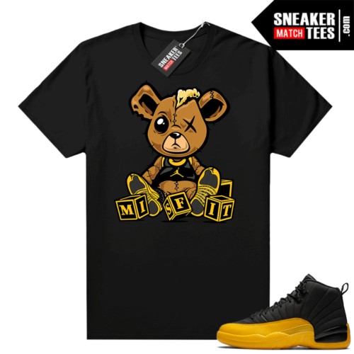 Jordan 12 University Gold Shirts Black Misfit Teddy