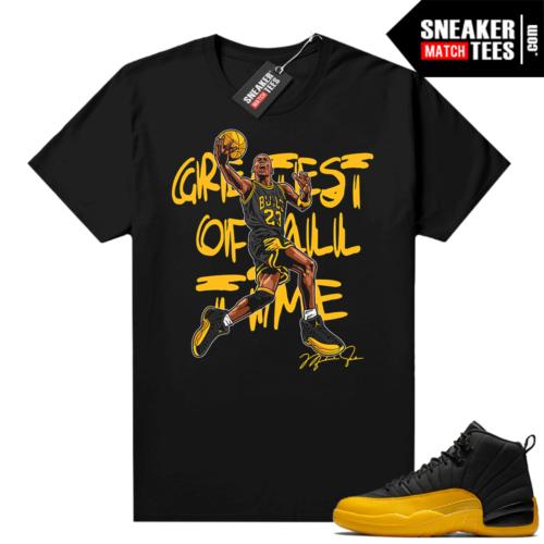 Air Jordan 12 shirts University Gold Black