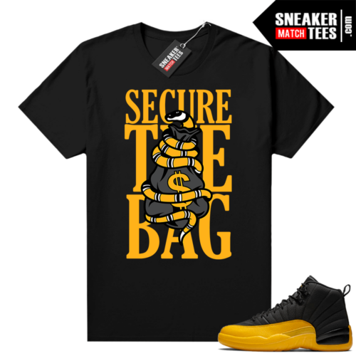 University Gold 12s sneaker tees Secure the Bag