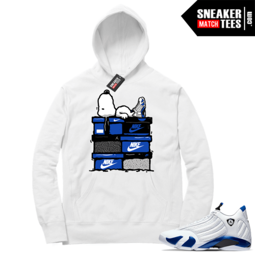 Hyper Royal 14s Match Hoodie Sneaker Head Snoopy