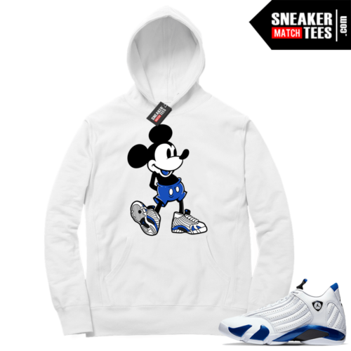 Hyper Royal 14s Match Hoodie Sneakerhead Mickey