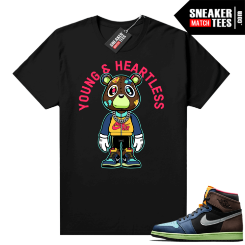 Jordan 1 Biohack sneaker tees shirts black Young & Heartless Bear Toon