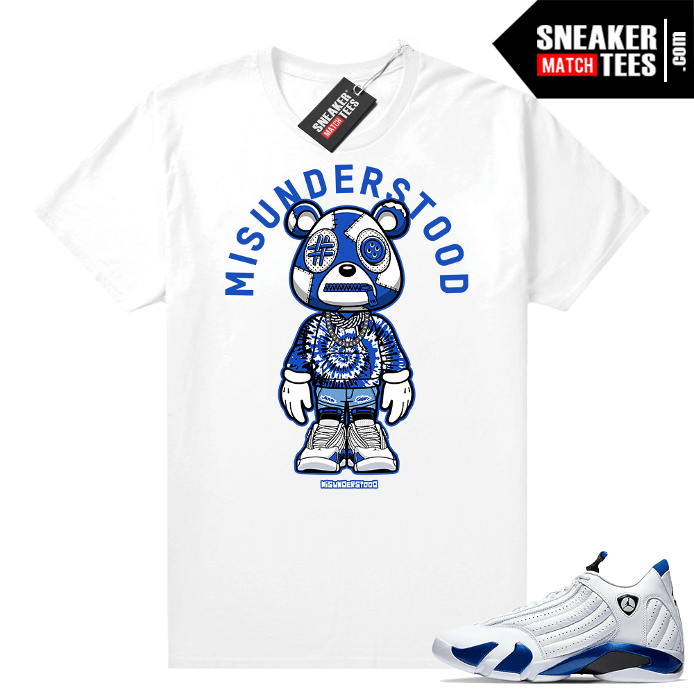 Jordan 14 Hyper Royal Sneaker Match Tees Misunderstood Bear ™ Toon
